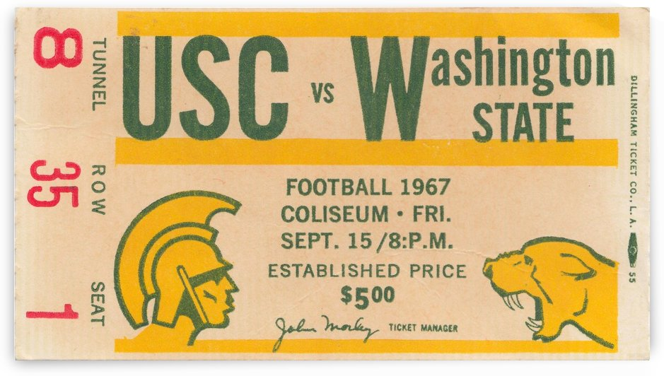 1967_College_Football_USC vs. Washington State_Los Angeles Coliseum_College Football Art by Row One Brand