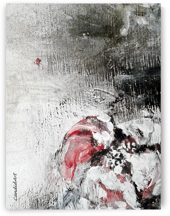 One Flower Red Black White by Candid Art