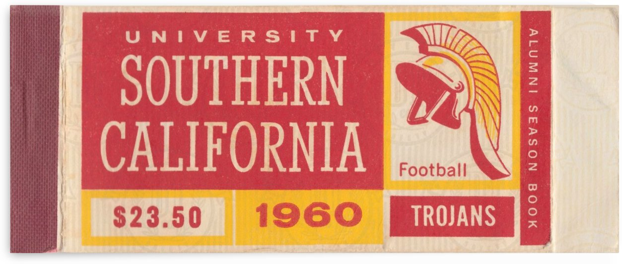 1960 College Football Season Ticket Art USC Trojans Alumni Season Book Reproduction Art by Row One Brand
