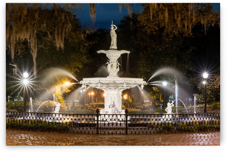 Fountain at Forsyth Park at Night  Savannah 03793 by The Photourist - Sanjeev Singhal