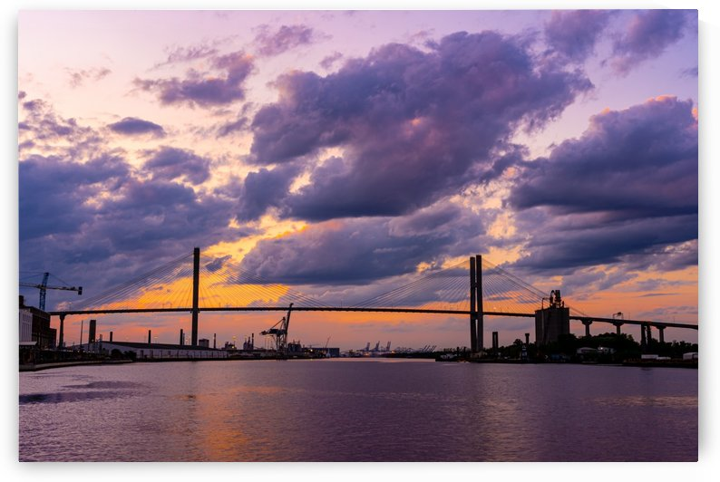 Talmadge Memorial Bridge Sunset   Savannah 03635 by The Photourist - Sanjeev Singhal