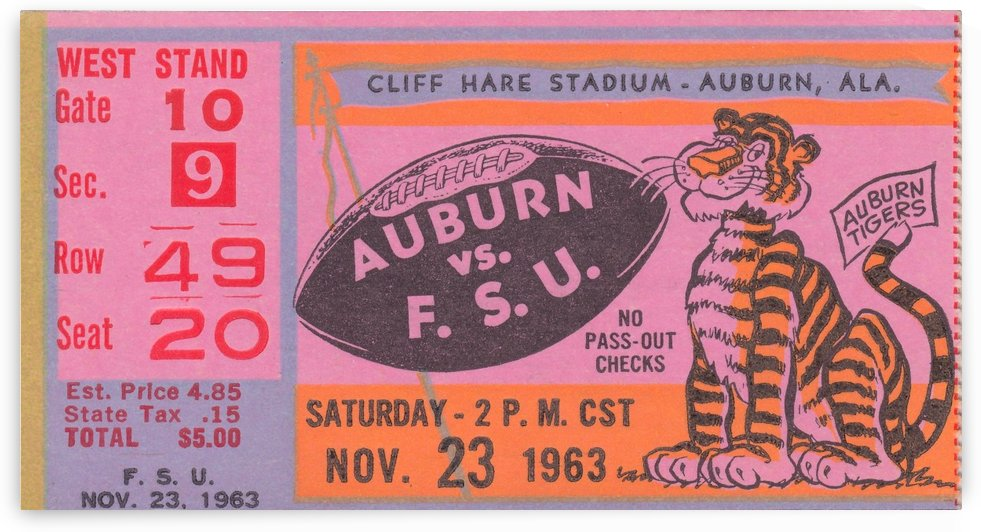 1963_College_Football_Florida State vs. Auburn_Cliff Hare Stadium_Football Ticket Stub Reproduction by Row One Brand
