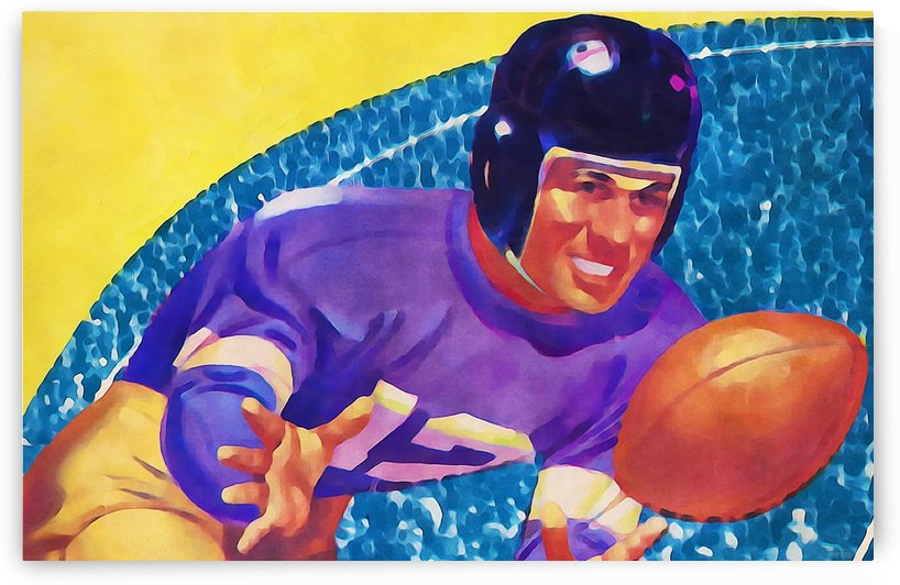 Football Art Watercolor Sports Art by Row One Brand