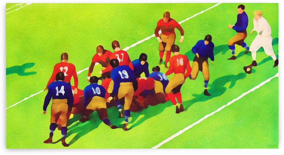 Vintage Football Art Sunny Day Gridiron Artwork by Row One Brand