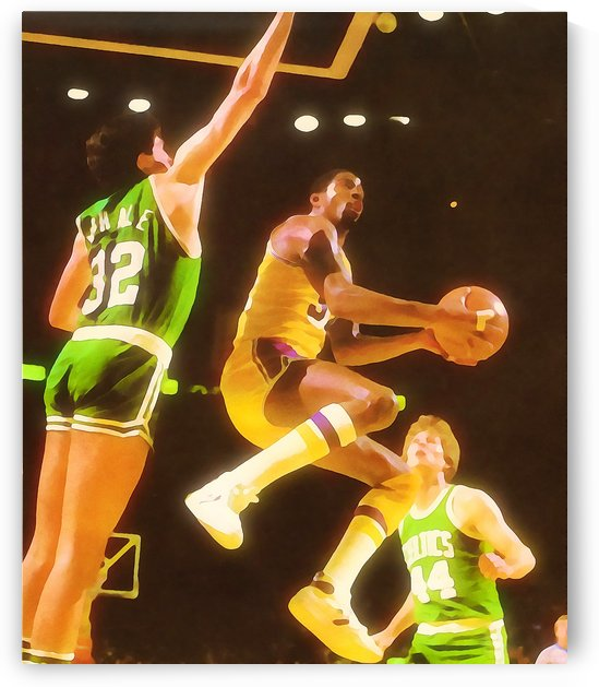 Los Angeles Lakers Magic Johnson Fine Art Watercolor Style Print by Row One Brand
