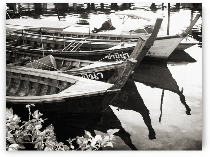 Thai Boats in Black and White by C  McGowen