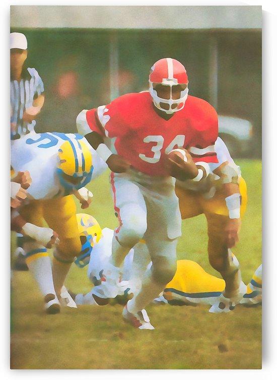 1981_College_Football_Georgia Bulldogs_Herschel Walker_Watercolor Style Football Art Poster by Row One Brand