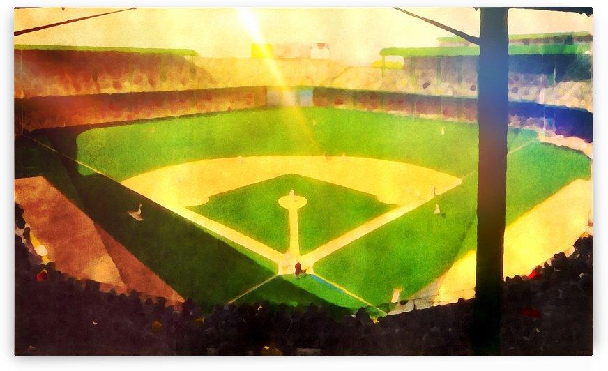 Vintage Baseball Stadium Art_MLB Art_Detroit Tigers_Briggs Stadium_Watercolor Baseball Art_Row One by Row One Brand
