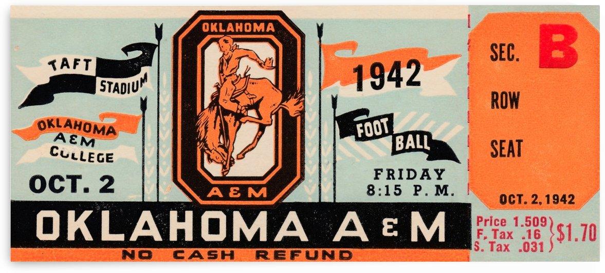 Oklahoma A&M Aggies Football Ticket Stub Art OSU Cowboys Ok State College Football Art by Row One Brand