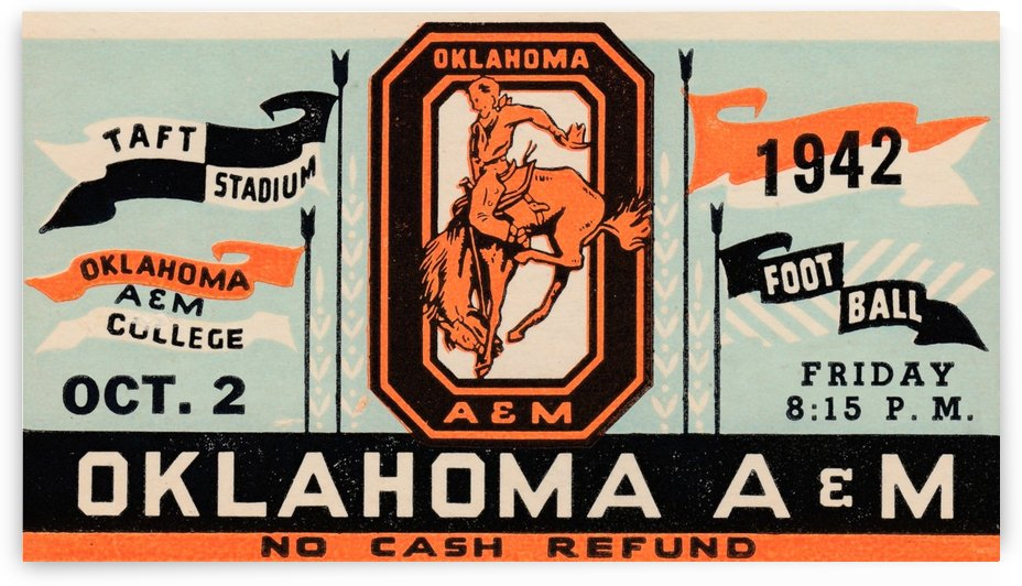 OSU Cowboys Football Art_Vintage College Football Ticket Stub Art_1942 Oklahoma A&M Ticket Artwork by Row One Brand