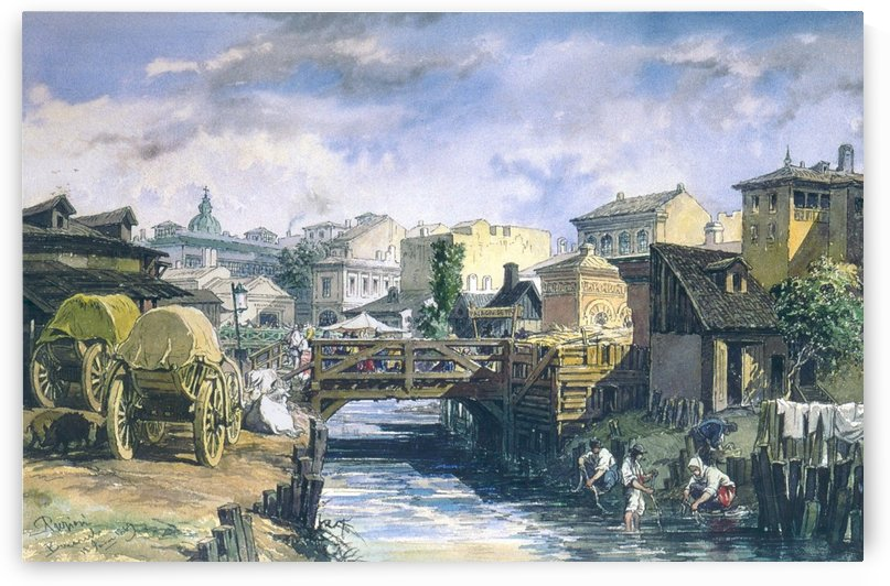 Dambovita River in Bucharest by Amadeo Preziosi