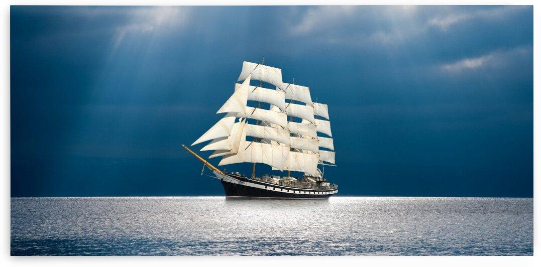 Sailboat on a winter day at sea by Radiy Bohem