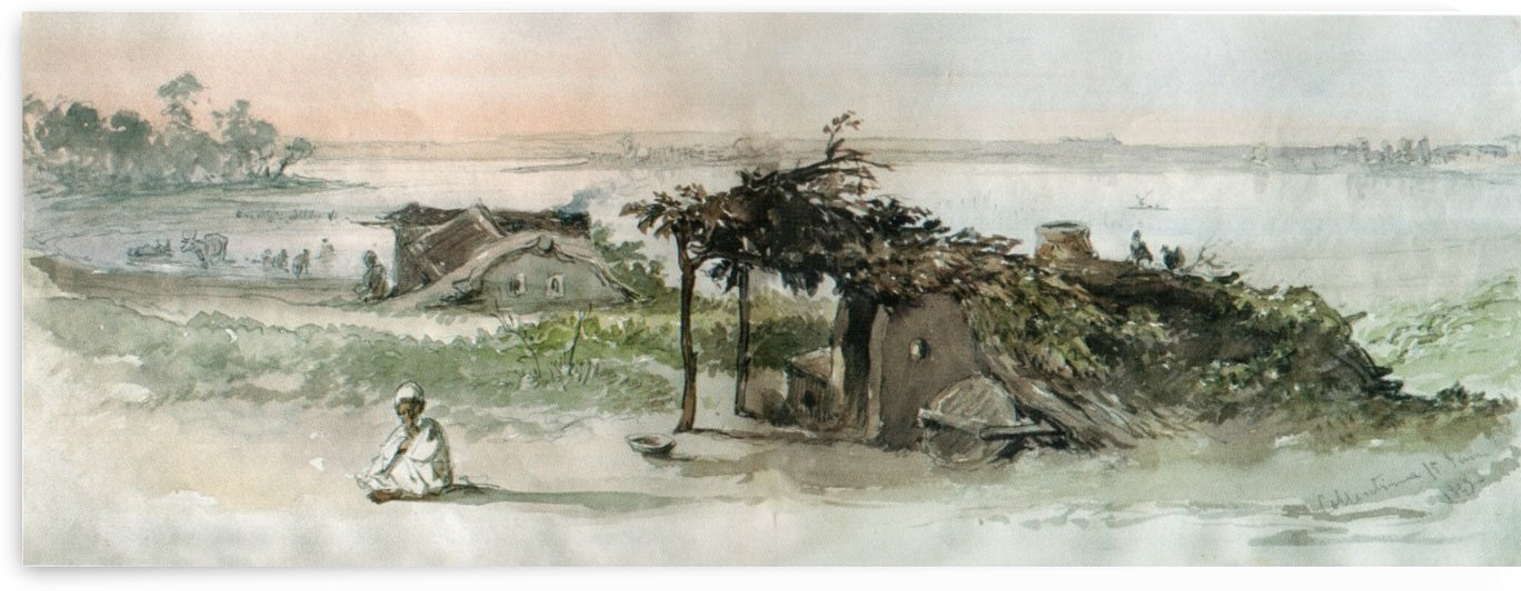 A hut in the village of Colentina by Amadeo Preziosi