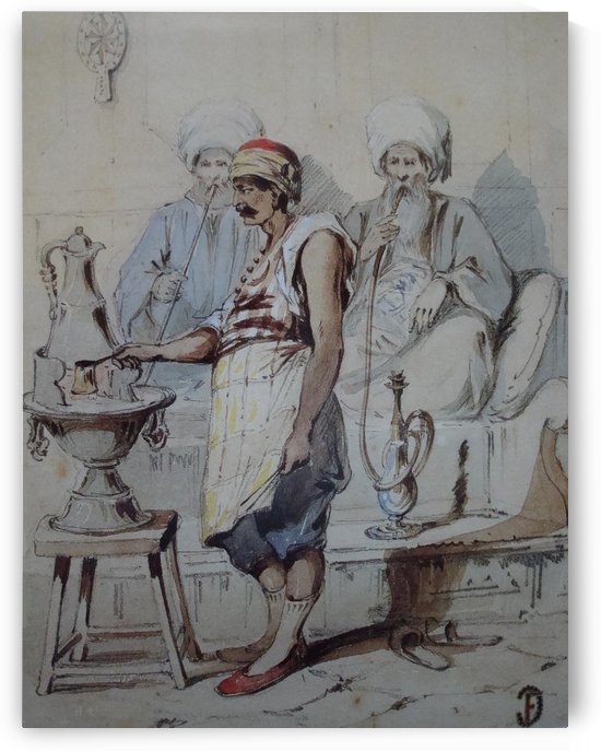 Smoking and making coffee by Amadeo Preziosi