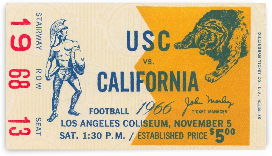 College Football Ticket Stub Collection_1966 USC vs. California Football Ticket Art Row One Brand (1) by Row One Brand