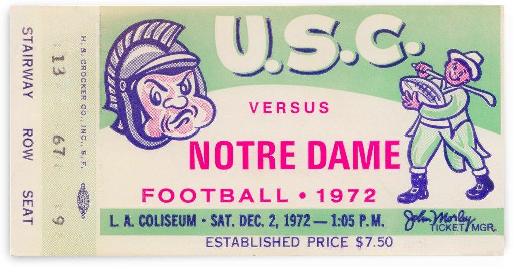 1972 USC Trojans vs. Notre Dame Irish College Football Ticket Stub Wall Art Print Row One Brand by Row One Brand