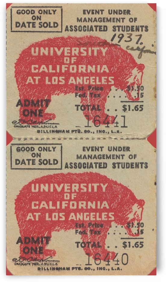 1937 USC Trojans vs. UCLA Bruins College Football Ticket Stub Art Admit One Row One Brand by Row One Brand