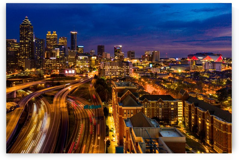 Atlanta GA Skyline Aerial View at Night 0299 by The Photourist - Sanjeev Singhal