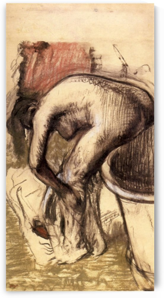 Female on the tub edge, her legs drying 1 by Degas by Degas