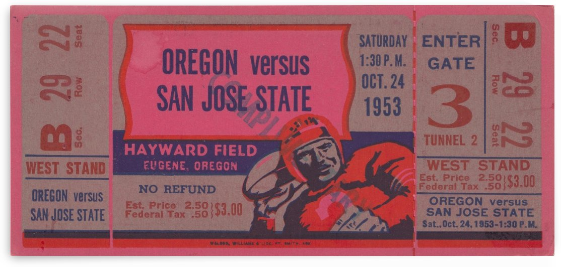 1953 College Football Ticket Stub_Oregon vs. San Jose State_Hayward Field_Eugene OR_Ticket Stub Art by Row One Brand