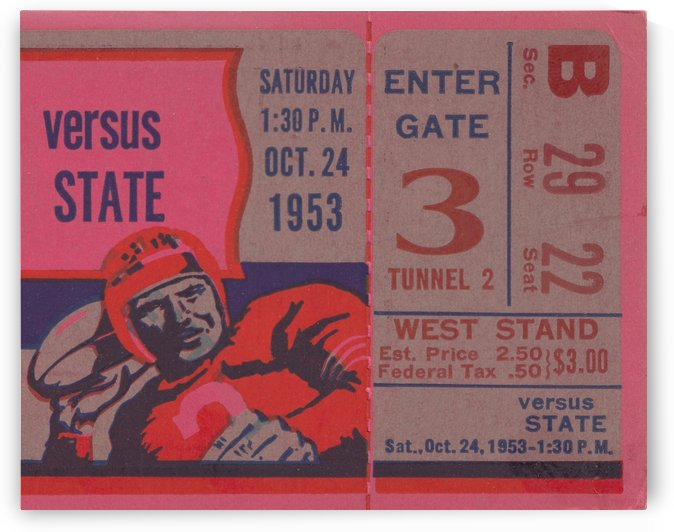 Vintage Ticket Stub Art Reproduction_Pink Home Decor Sports Art_Versus State by Row One Brand