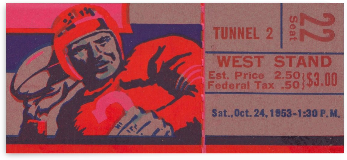 Football Ticket Stub Art_Cool Sports Art_Home Decor for Sports Fans_Best Interior Design Ideas 2020 by Row One Brand