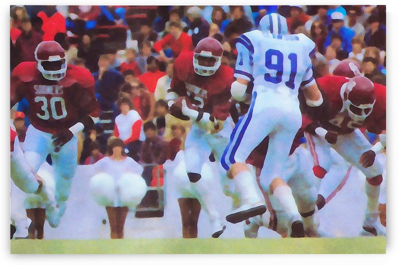 College Football Art_1984 Season_Oklahoma vs. Kansas State_Owen Field_Oklahoma Football Watercolor by Row One Brand