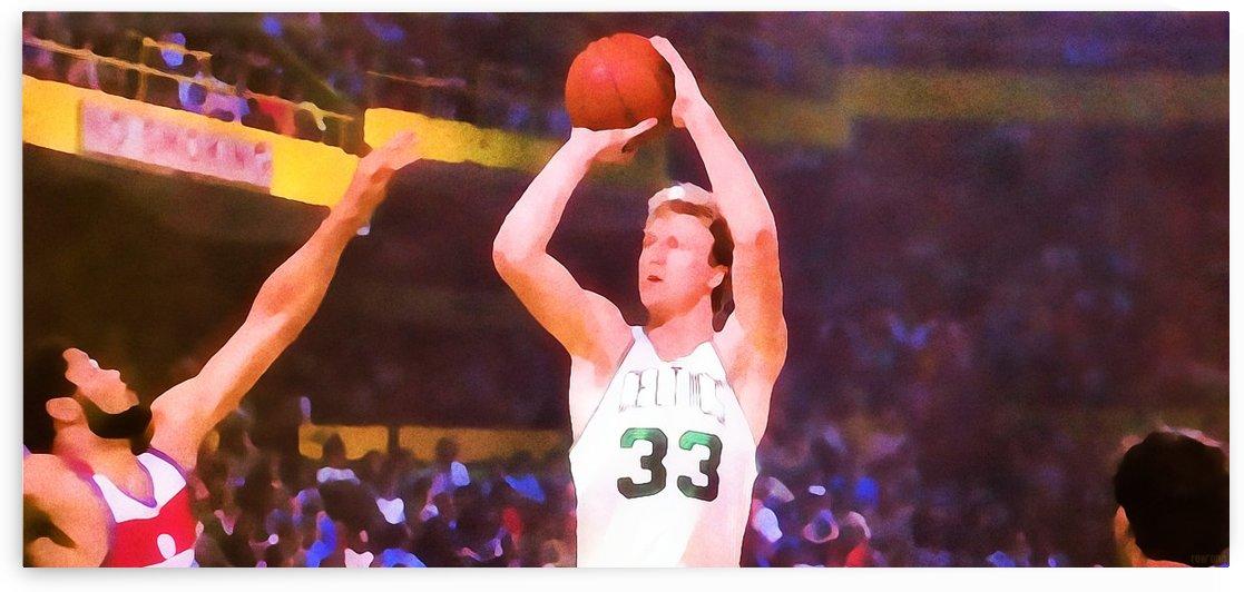 Boston Celtics Larry Bird Jump Shot Boston Garden Basketball Art Print by Row One Brand