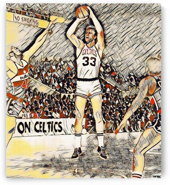 Larry Bird Artwork_Retro Basketball Print_Boston Celtics Art Poster by Row One Brand