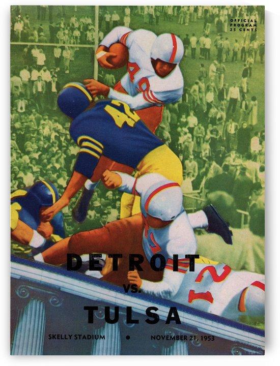 1953 College Football_Detroit vs. Tulsa_Skelly Stadium_Tulsa_Football Program Cover Art by Row One Brand