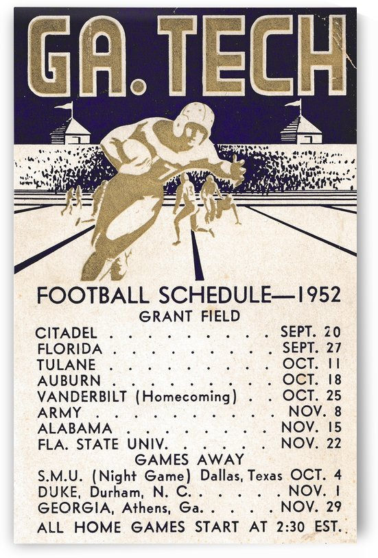 Vintage Football Schedules_College Football Schedule_1952 Georgia Tech Yellow Jackets_Schedule Art by Row One Brand