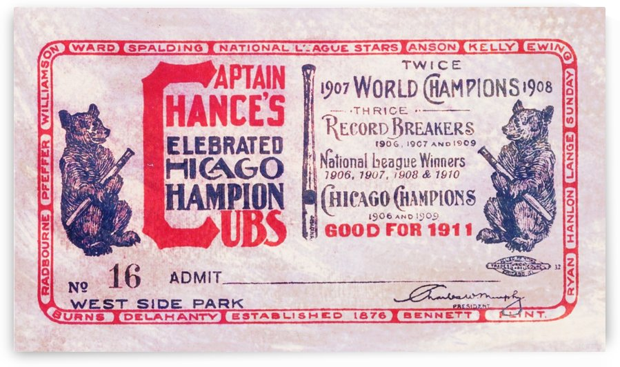 1911_Major League Baseball_Chicago Cubs_Season Pass Art (1) by Row One Brand
