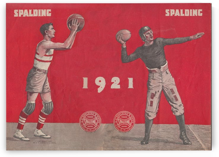 1921 Spalding Basketball and Football Art by Row One Brand