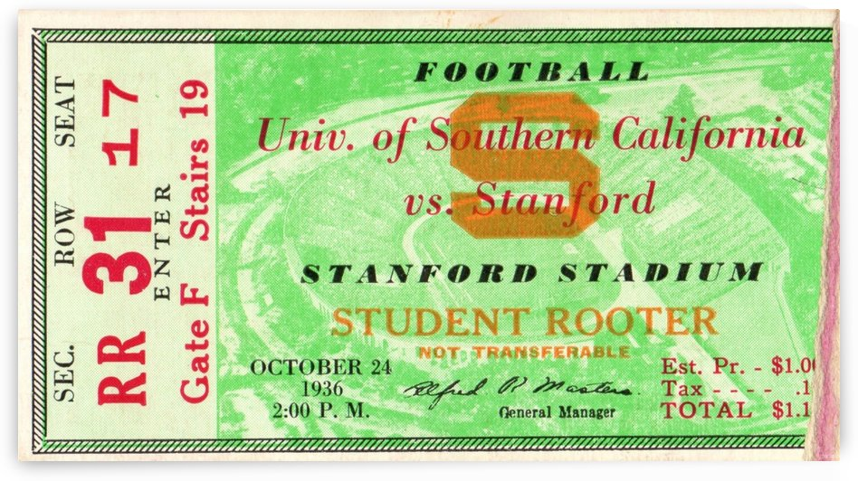 1936_College_Football_USC vs. Stanford_Stanford Stadium_Palo Alto_Ticket Stub Art by Row One Brand