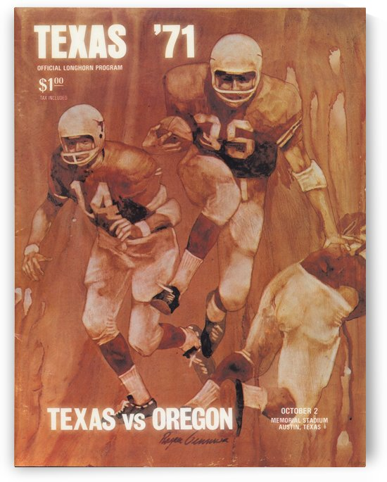 1971 Texas Longhorns Football Program Cover Art Reproduction by Row One Brand