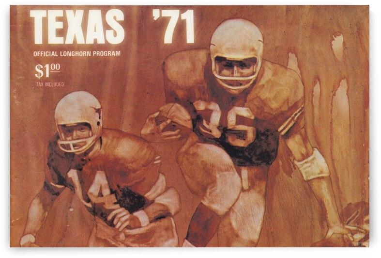 Vintage Texas Longhorns Football Program Cover Art_Austin Texas Gift Ideas by Row One Brand