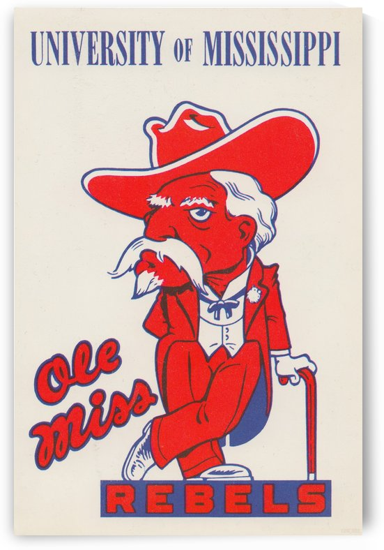 1975 College Mascot Art Reproduction University of Mississippi Ole Miss Rebels_Colonel Reb Art (1) by Row One Brand