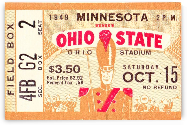 1949_College_Football_Minnesota vs. Ohio State_Ohio Stadium_Ticket Stub Collection Art by Row One Brand