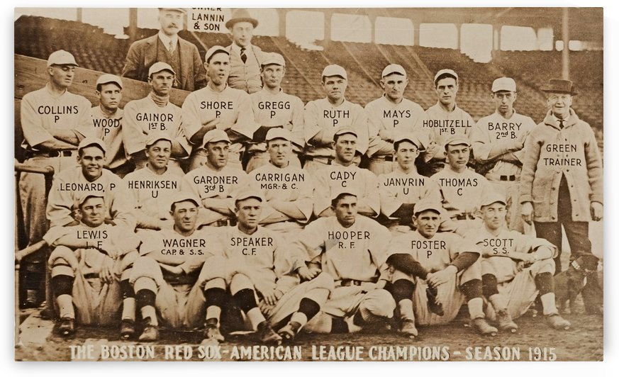 1915 Boston Red Sox Team Photo_Babe Ruth Rookie Season_Old Baseball Photo Art_Row One Sports Photos by Row One Brand