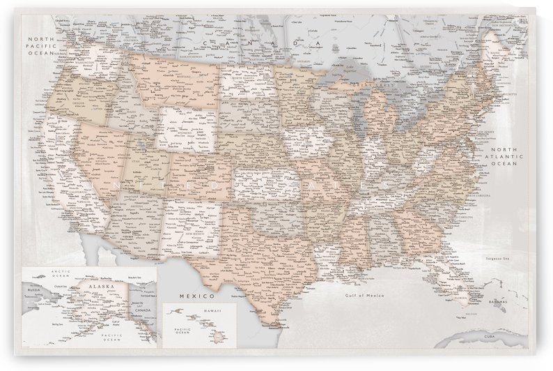 Detailed map of the USA in vintage distressed style by blursbyai