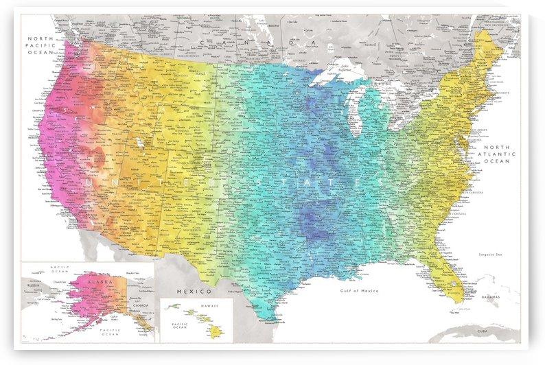 Detailed map of the USA in rainbow watercolor by blursbyai