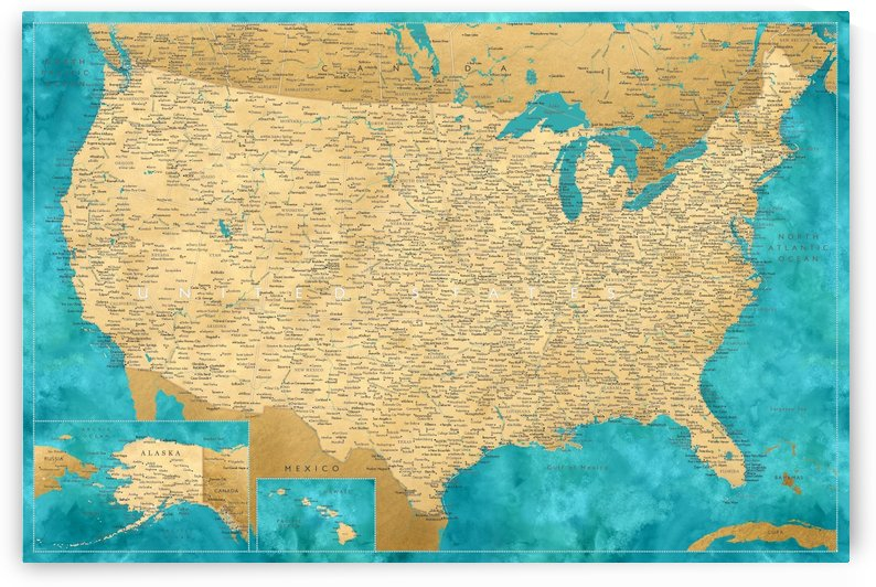 Detailed map of the USA in gold and teal watercolor by blursbyai