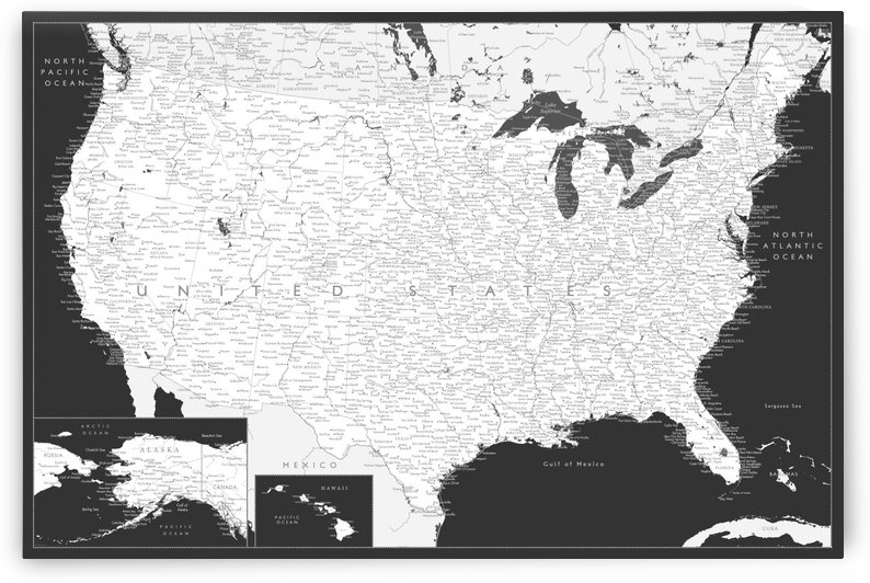 Detailed map of the USA in black and white by blursbyai