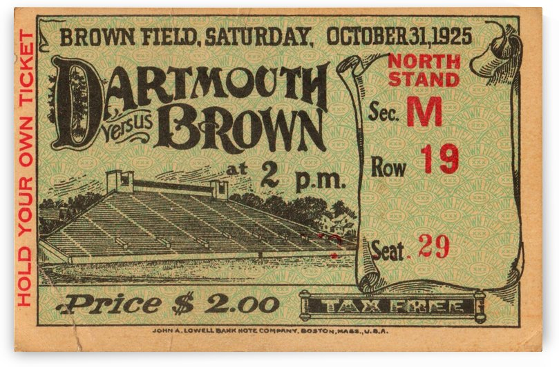 1925_College_Football_Dartmouth vs. Brown_Brown Field_Ticket Stub Collection_Brown University Art by Row One Brand