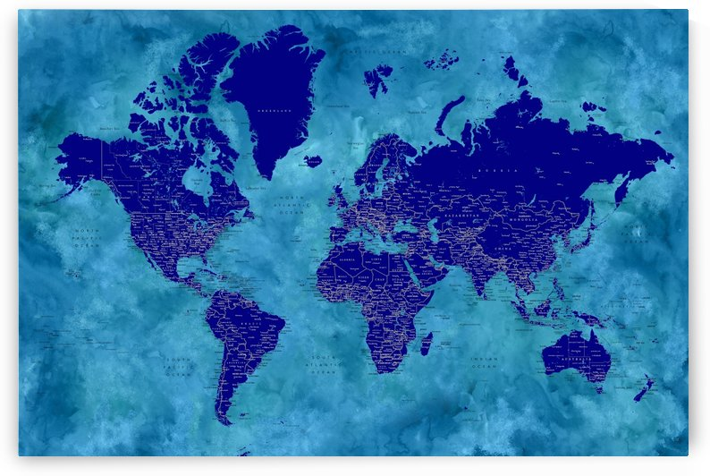 Detailed world map with cities in blue by blursbyai