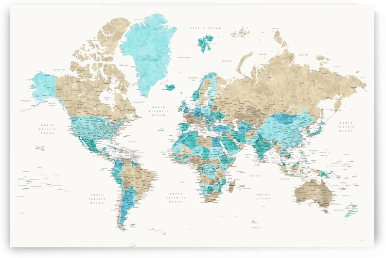 Detailed world map with cities in aquamarine brown and cream by blursbyai