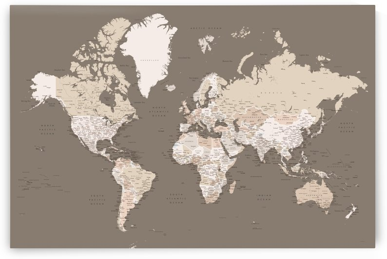 Detailed world map with cities in brown earth tones by blursbyai