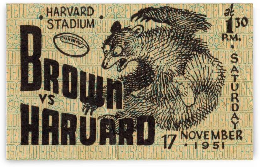 1951 Brown Harvard Football Ticket Stub Art_Best Ticket Stub Collection by Row One Brand