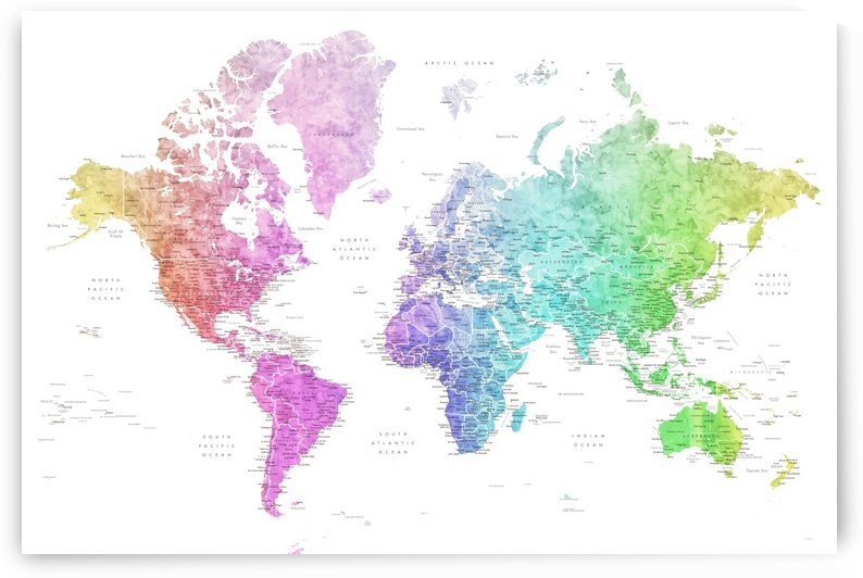 Detailed world map with cities in colorful gradient watercolor by blursbyai