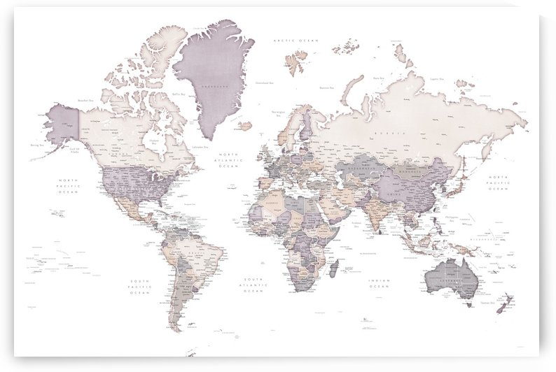 Detailed world map with cities in distressed mauve neutrals by blursbyai